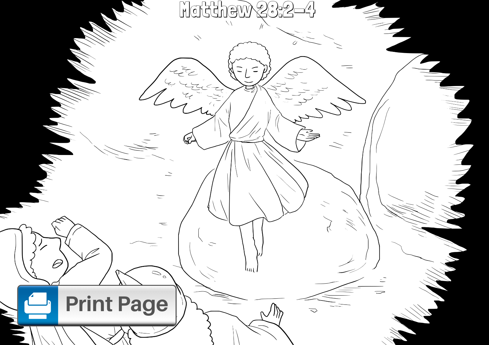 Angel at Jesus Tomb Coloring Page