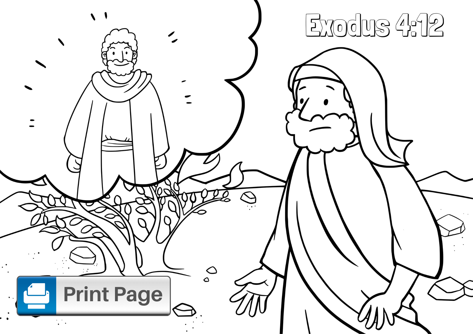 Coloring Page with Moses