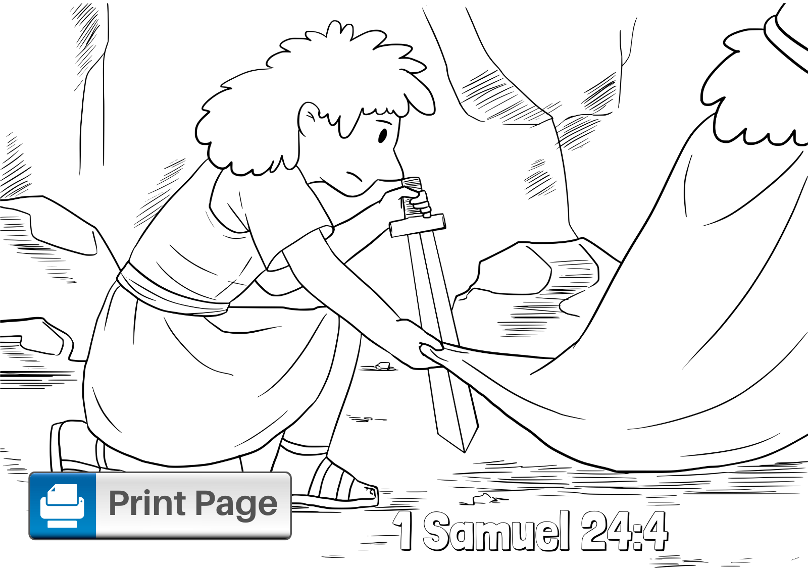 David and Saul in the Cave Coloring Page