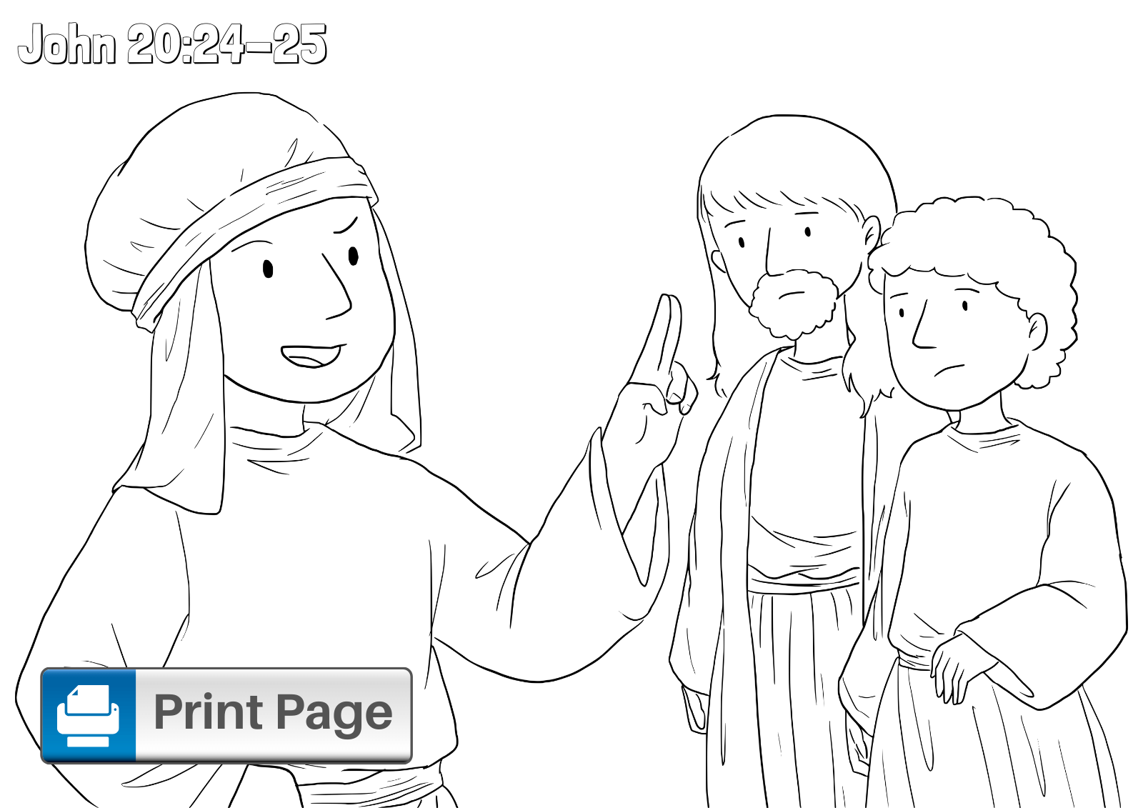 Doubting Thomas Coloring Picture