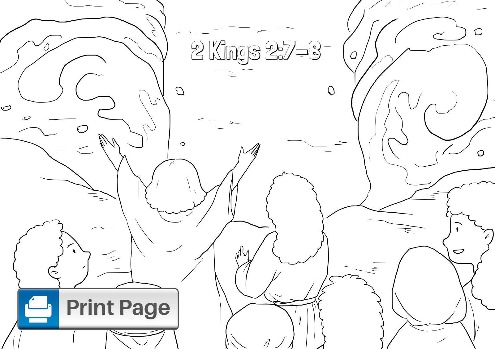 Elijah Parts the Water Coloring Page