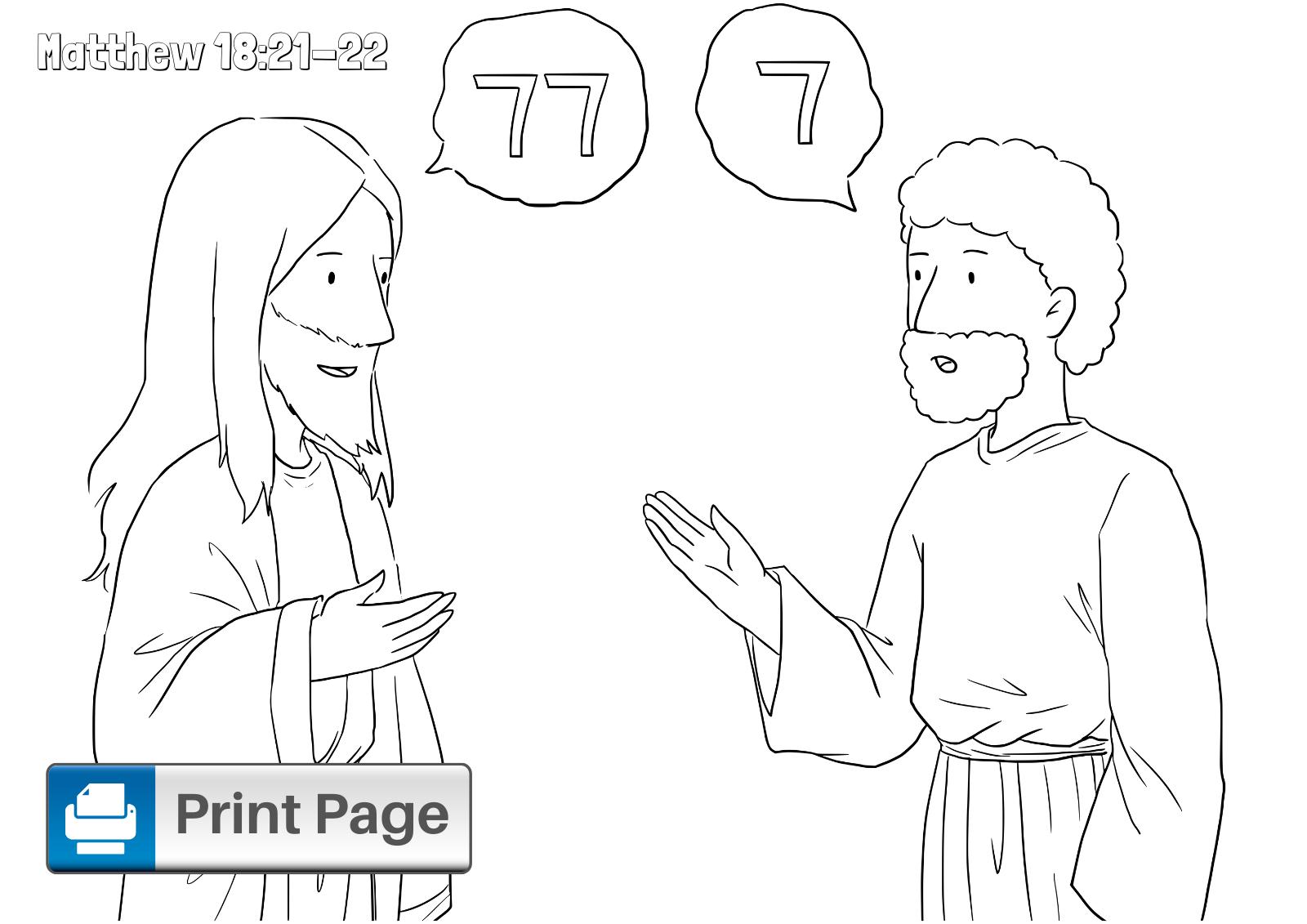 Forgiveness Jesus Parable Coloring Page