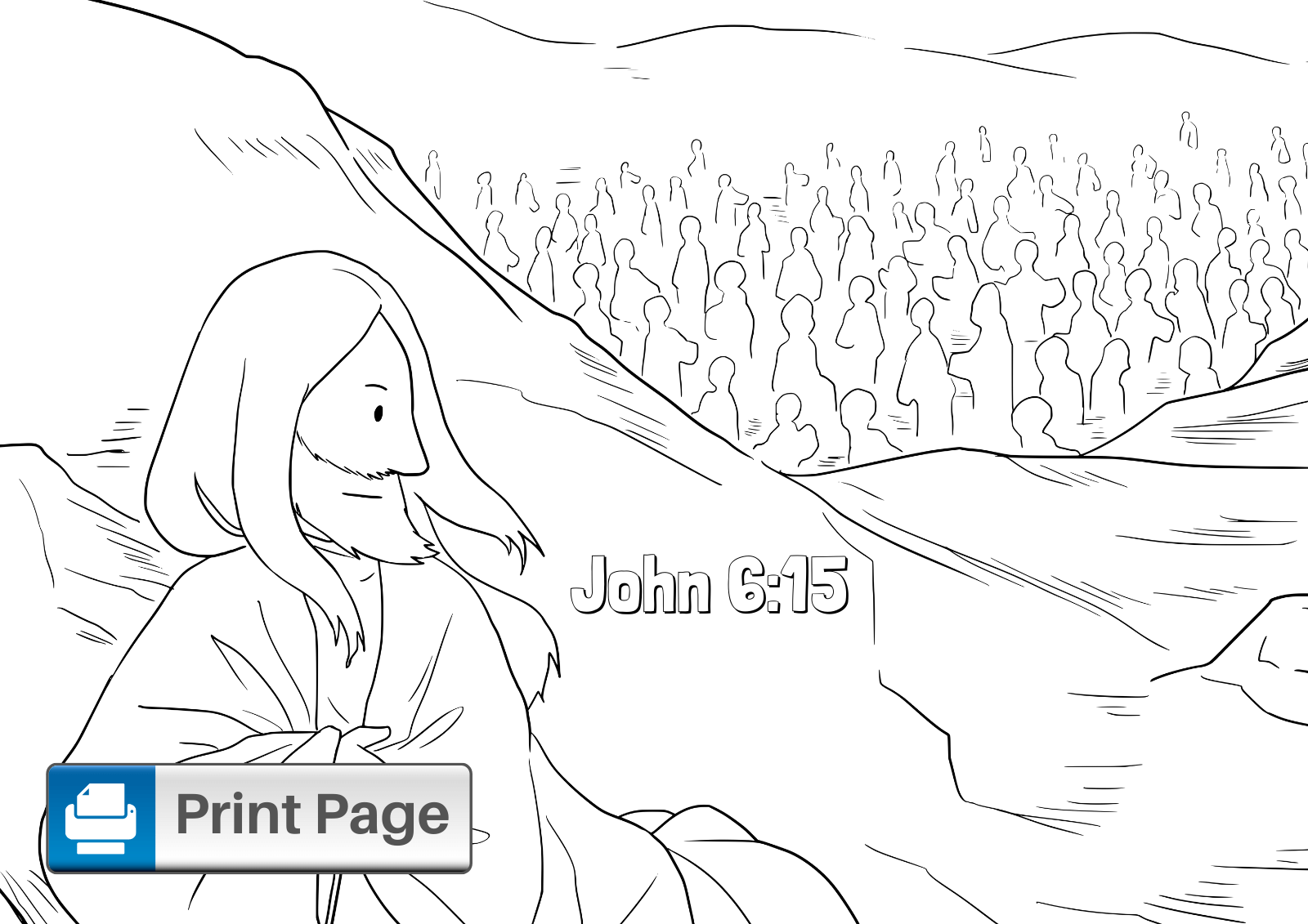 Jesus Feeds 5000 Coloring Sheet