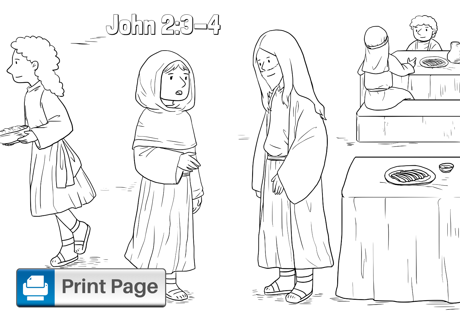 Jesus First Miracle Coloring Page