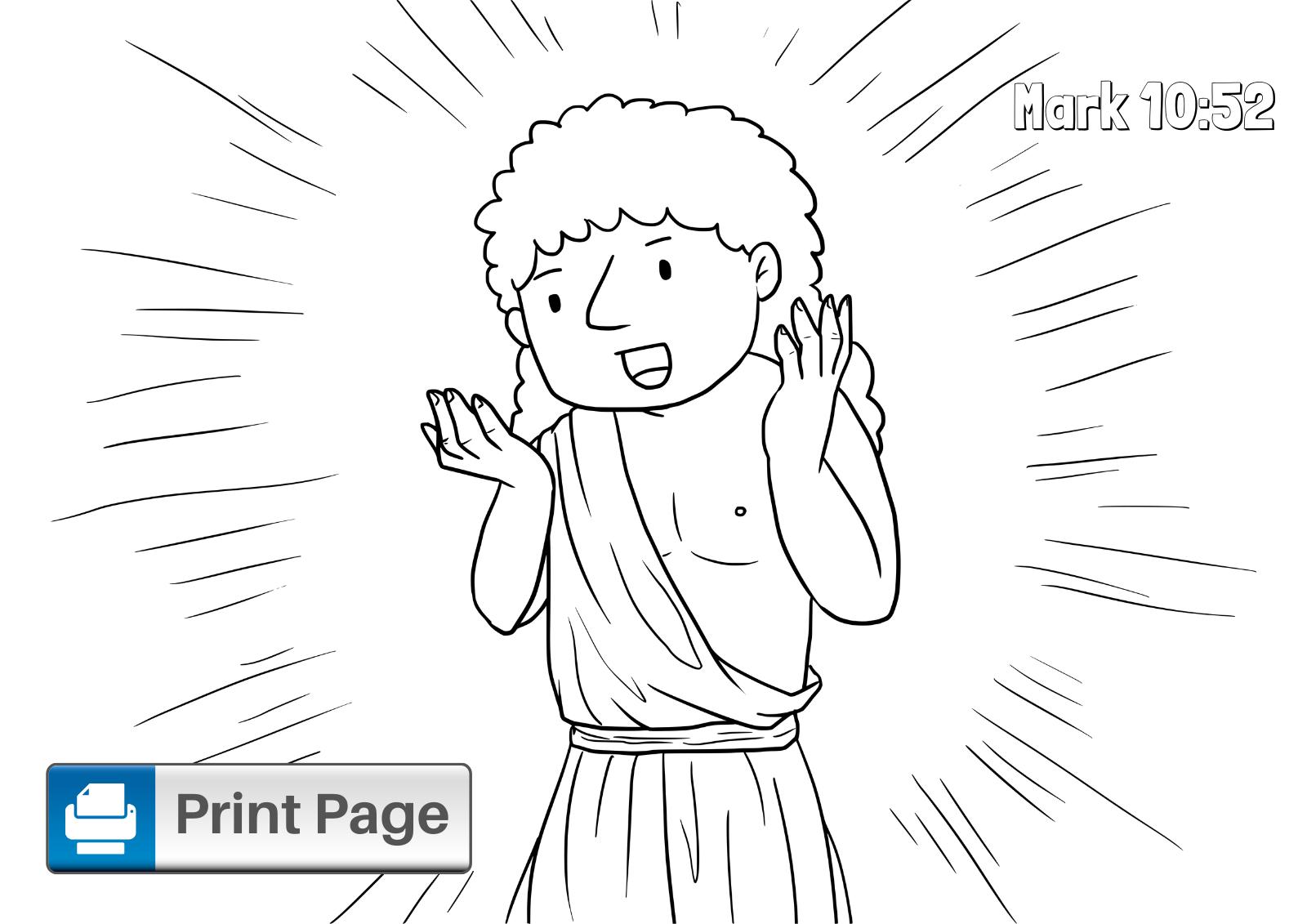 Jesus Heals Bartimaeus Coloring Page