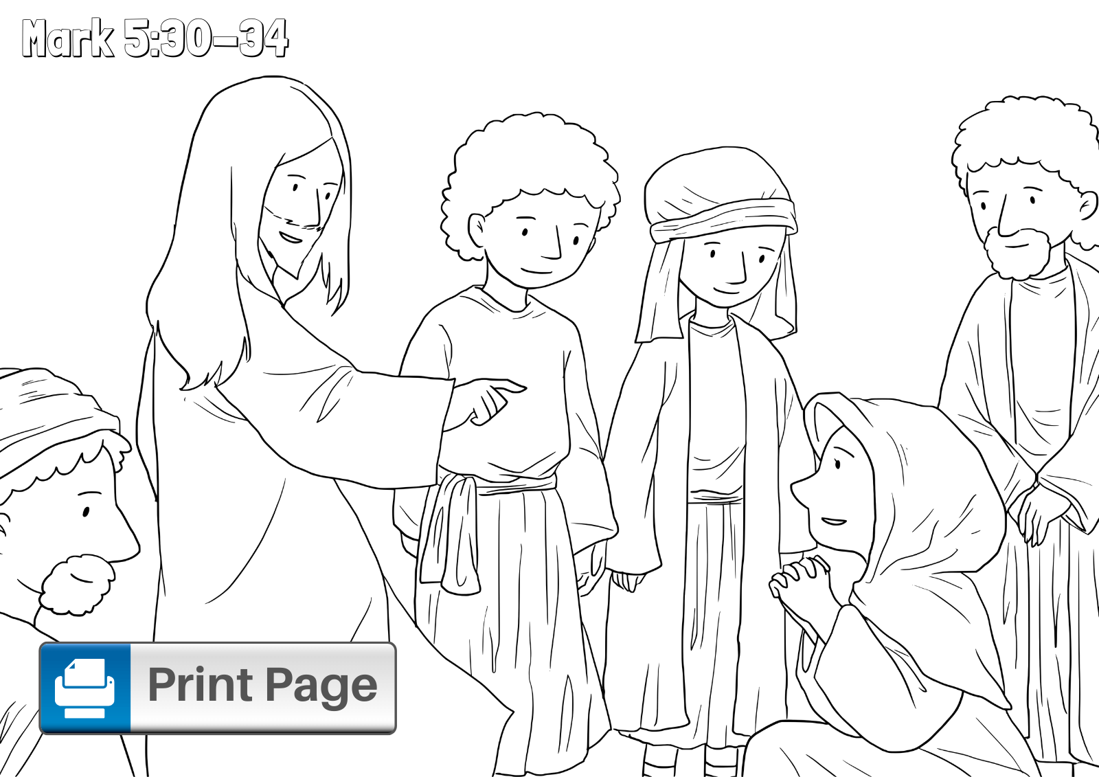 Jesus Heals Jairus Daughter Coloring Page