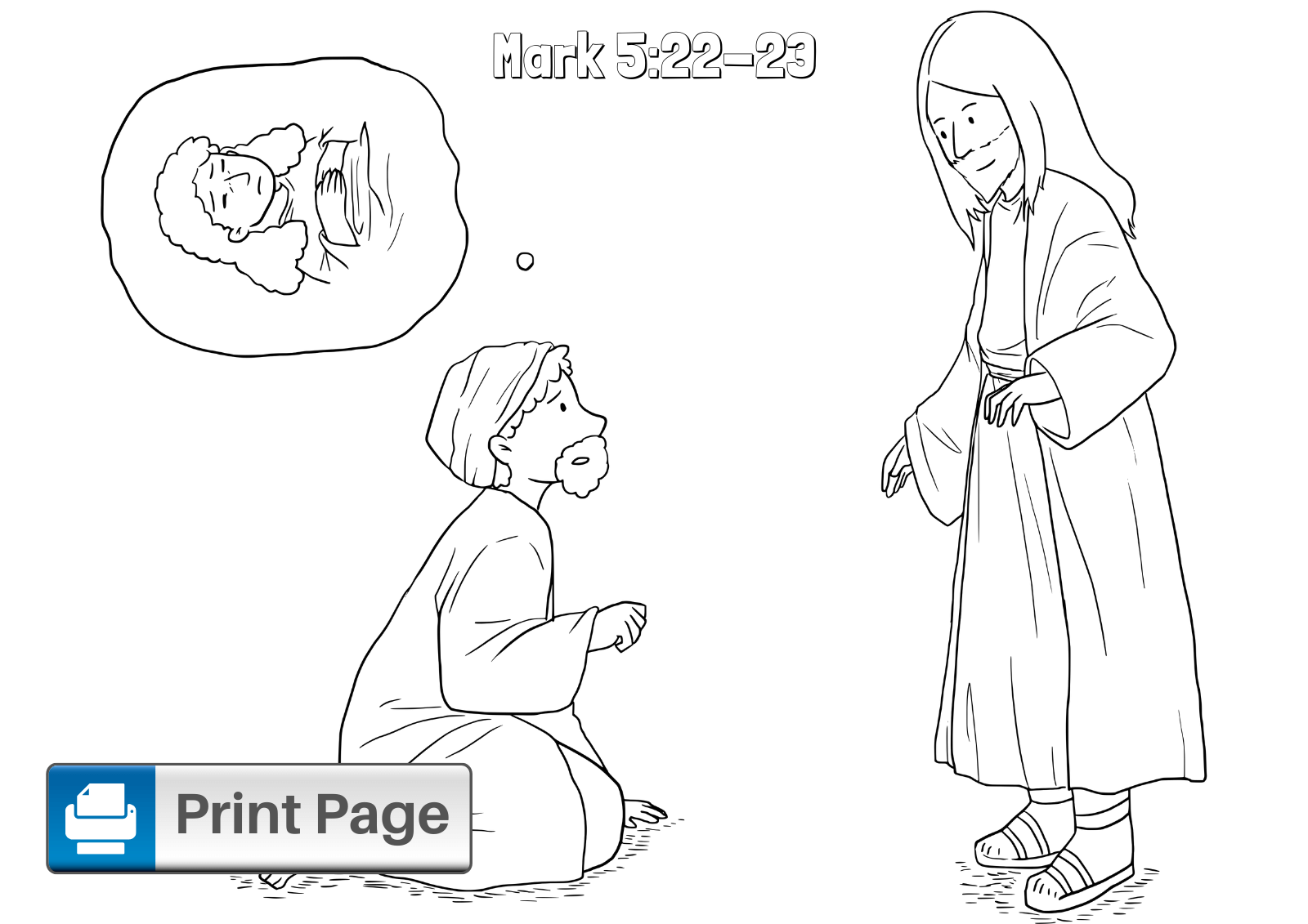 Jesus Heals Jairus Daughter Coloring Sheet