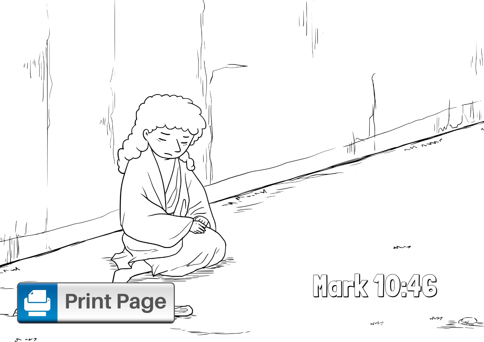 Jesus Heals a Blind Man Coloring Page