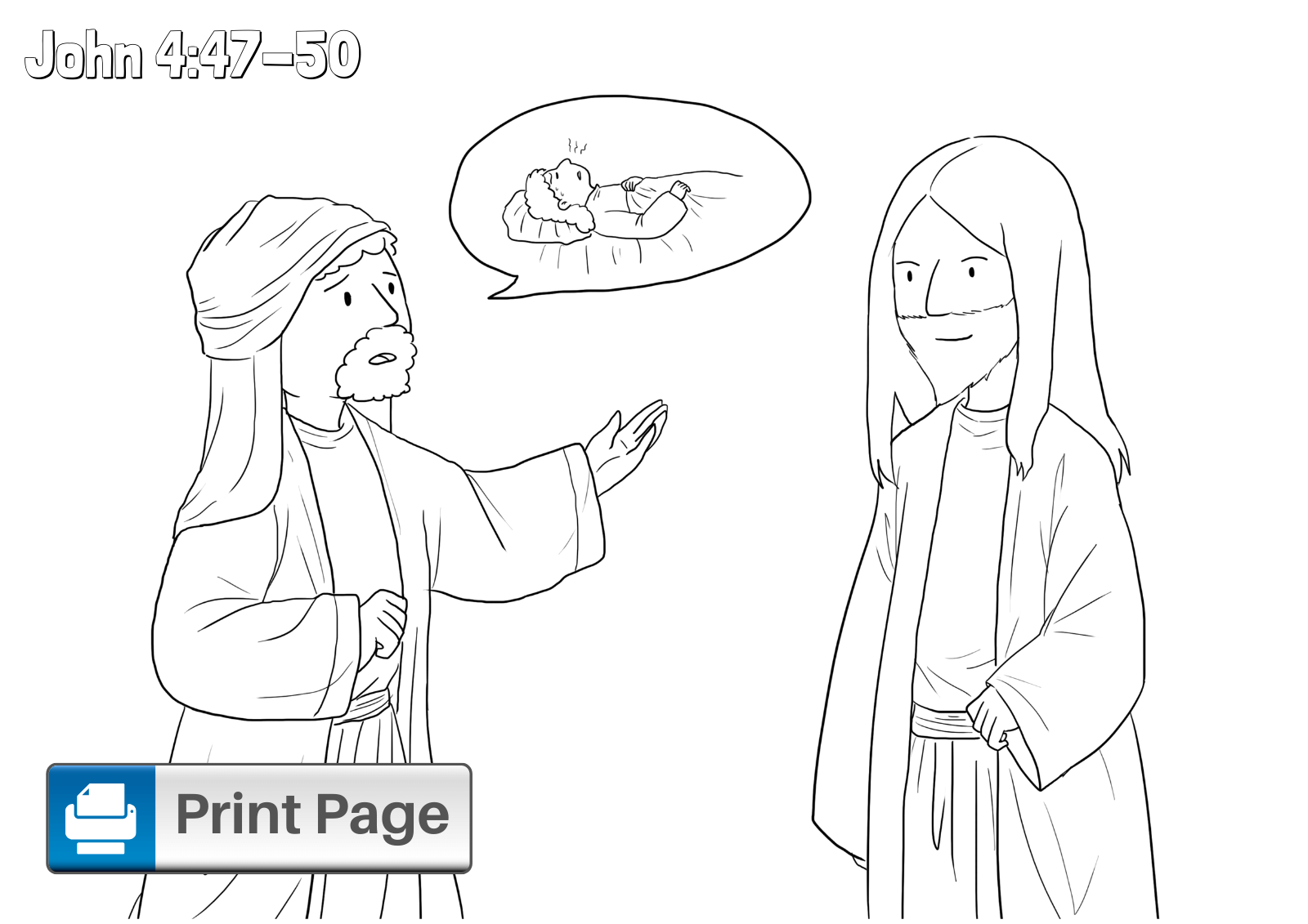 Jesus Heals the Nobleman's Son Coloring Page