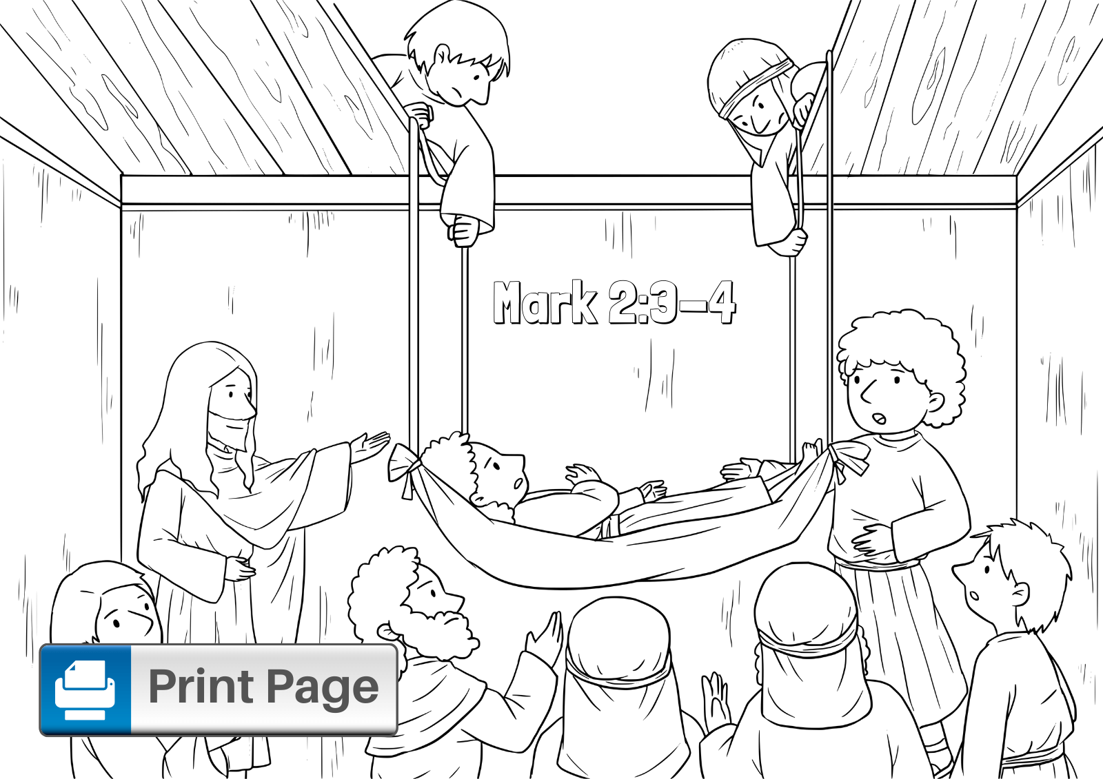 Jesus Heals the Paralytic Man Coloring Page