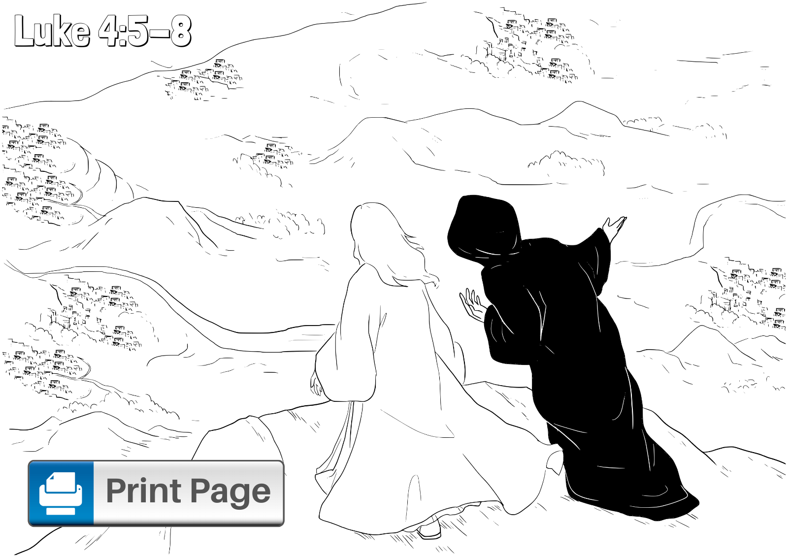 Jesus Temptation in the Desert Coloring Page