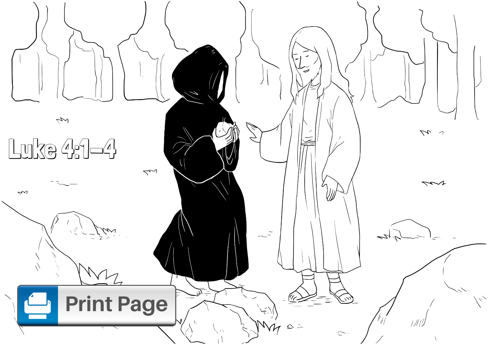 Jesus Tempted in the Desert Coloring Page