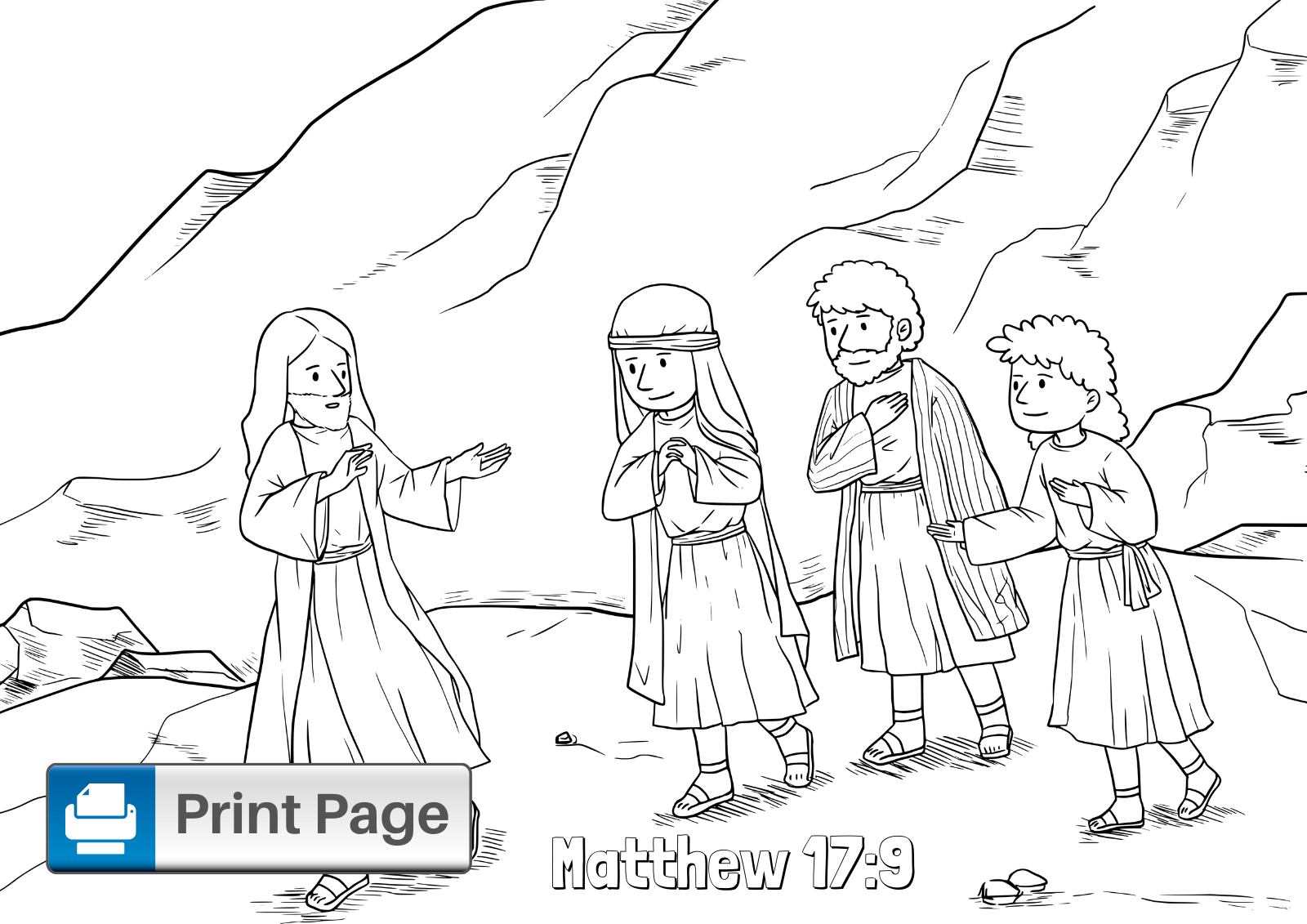 Jesus Tranfiguration Coloring Page