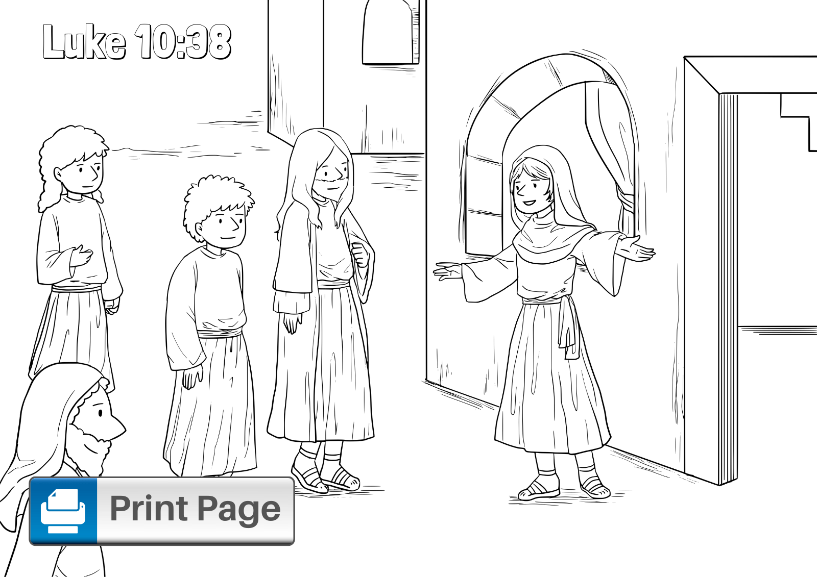 Jesus Visits Mary and Martha Coloring Page
