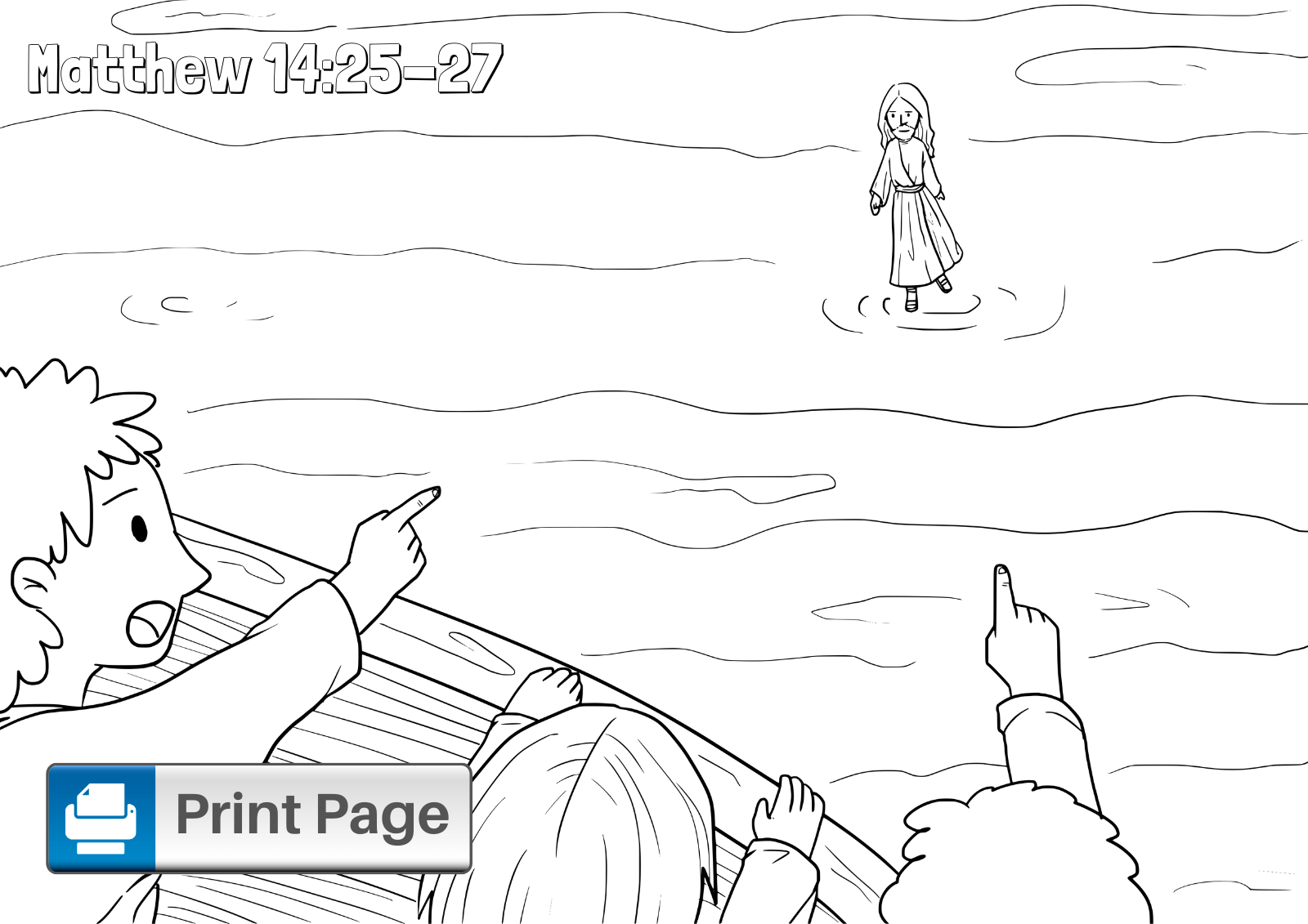Free Jesus Walks On Water Coloring Pages For Kids Connectus