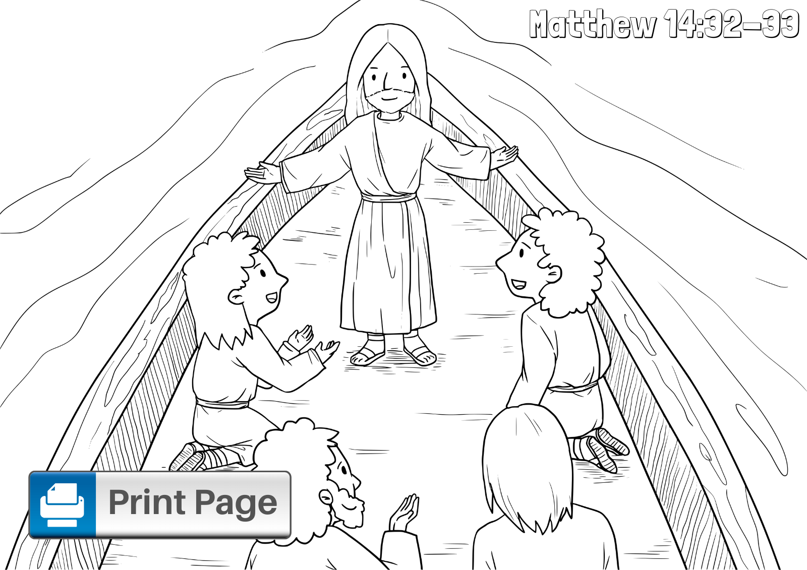 Jesus Walks on Water Colouring Page