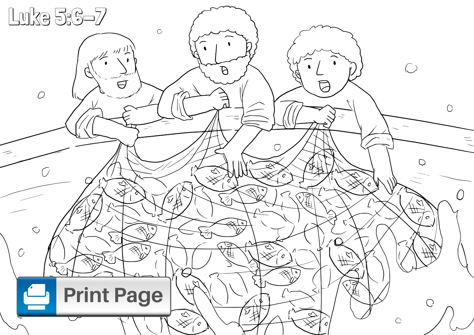 Jesus and Miraculous Catch of Fish Coloring Page