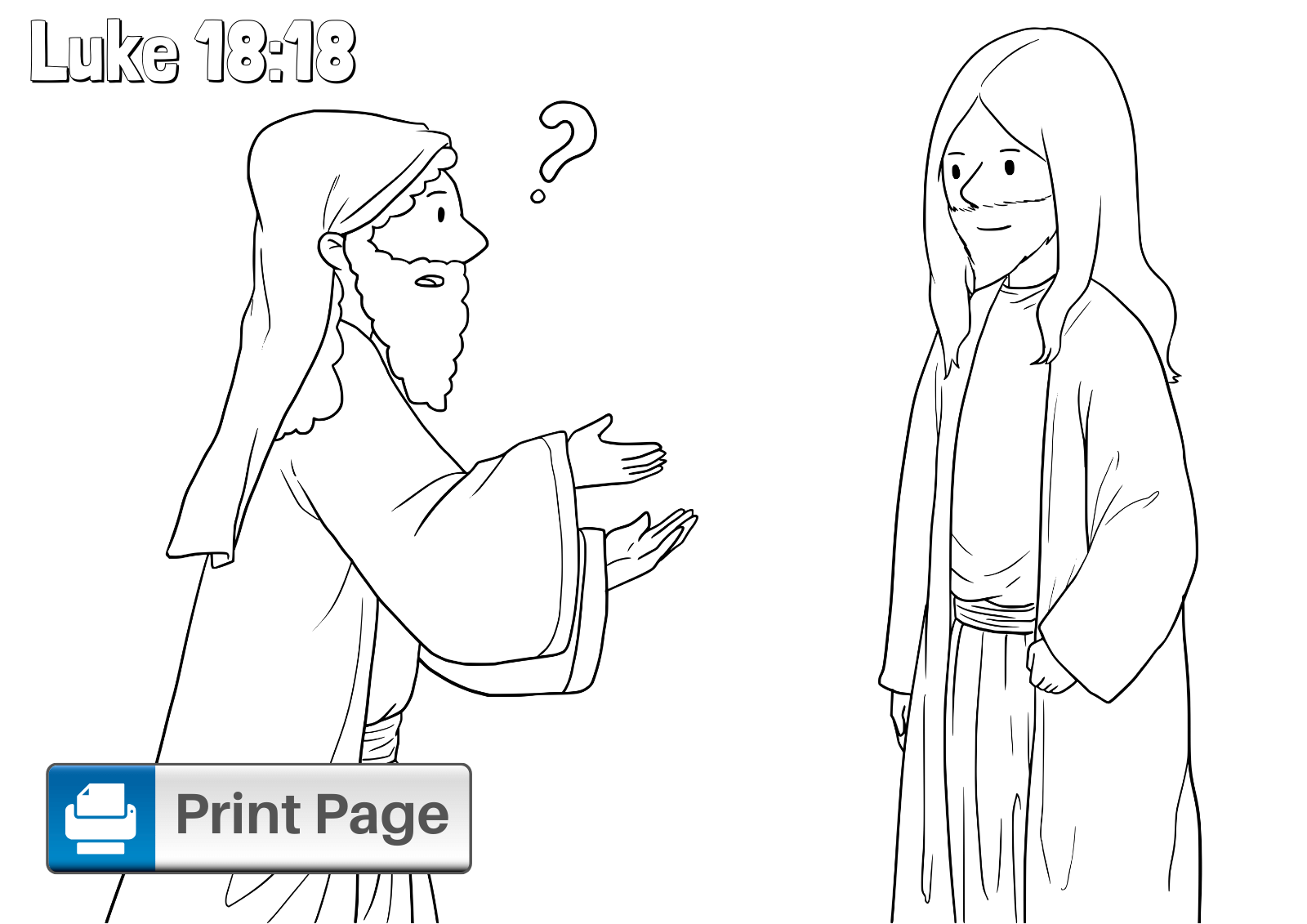 Jesus and the Rich Young Ruler Coloring Sheet