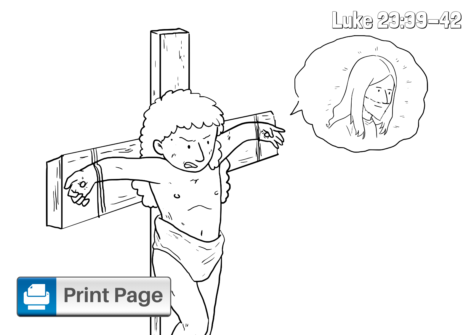 Jesus and the Thief on Cross Coloring Page