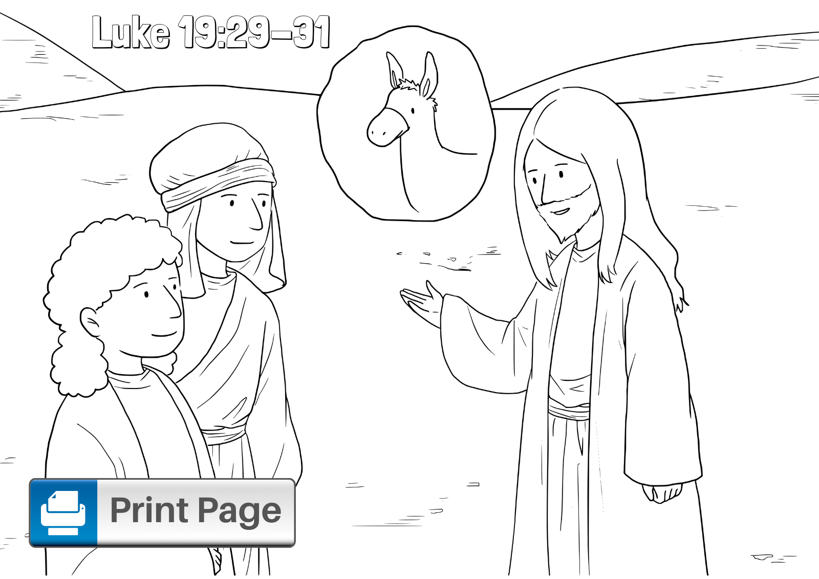 Jesus on Donkey Coloring Page