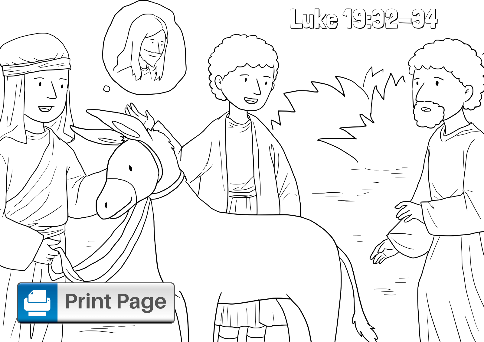 Jesus on Donkey Coloring Sheet