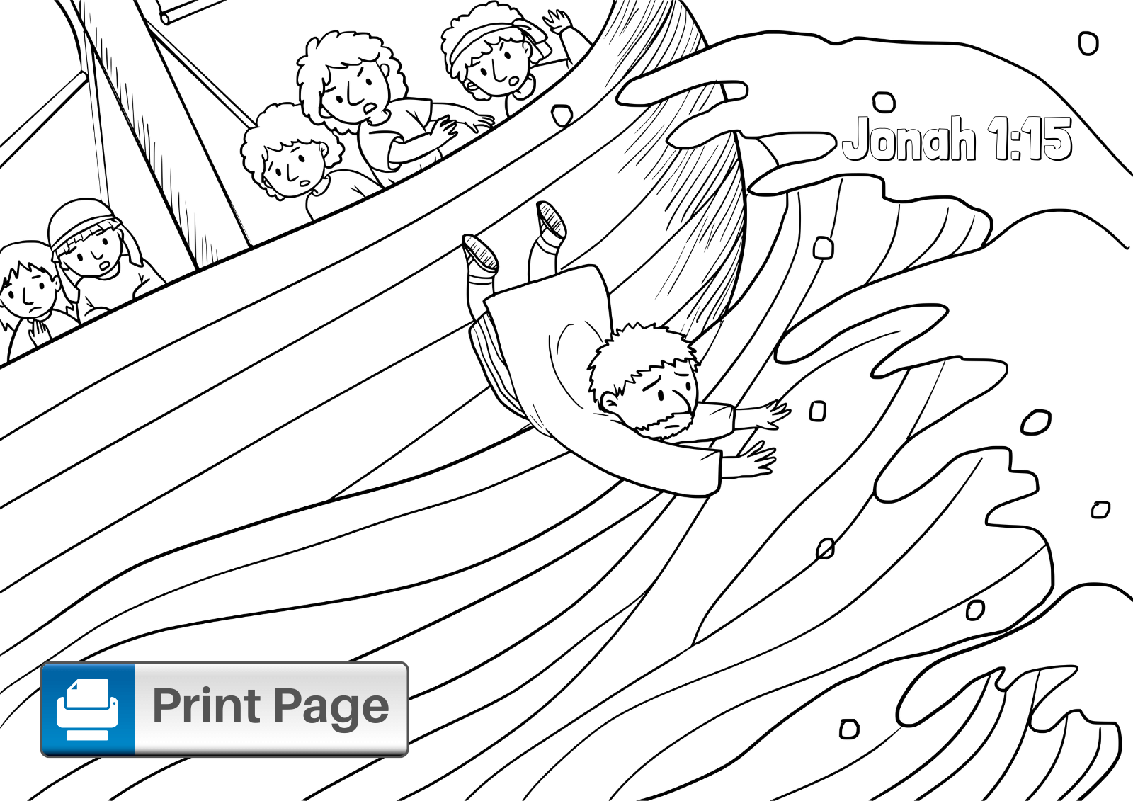 Jonah Bible Story Coloring Page