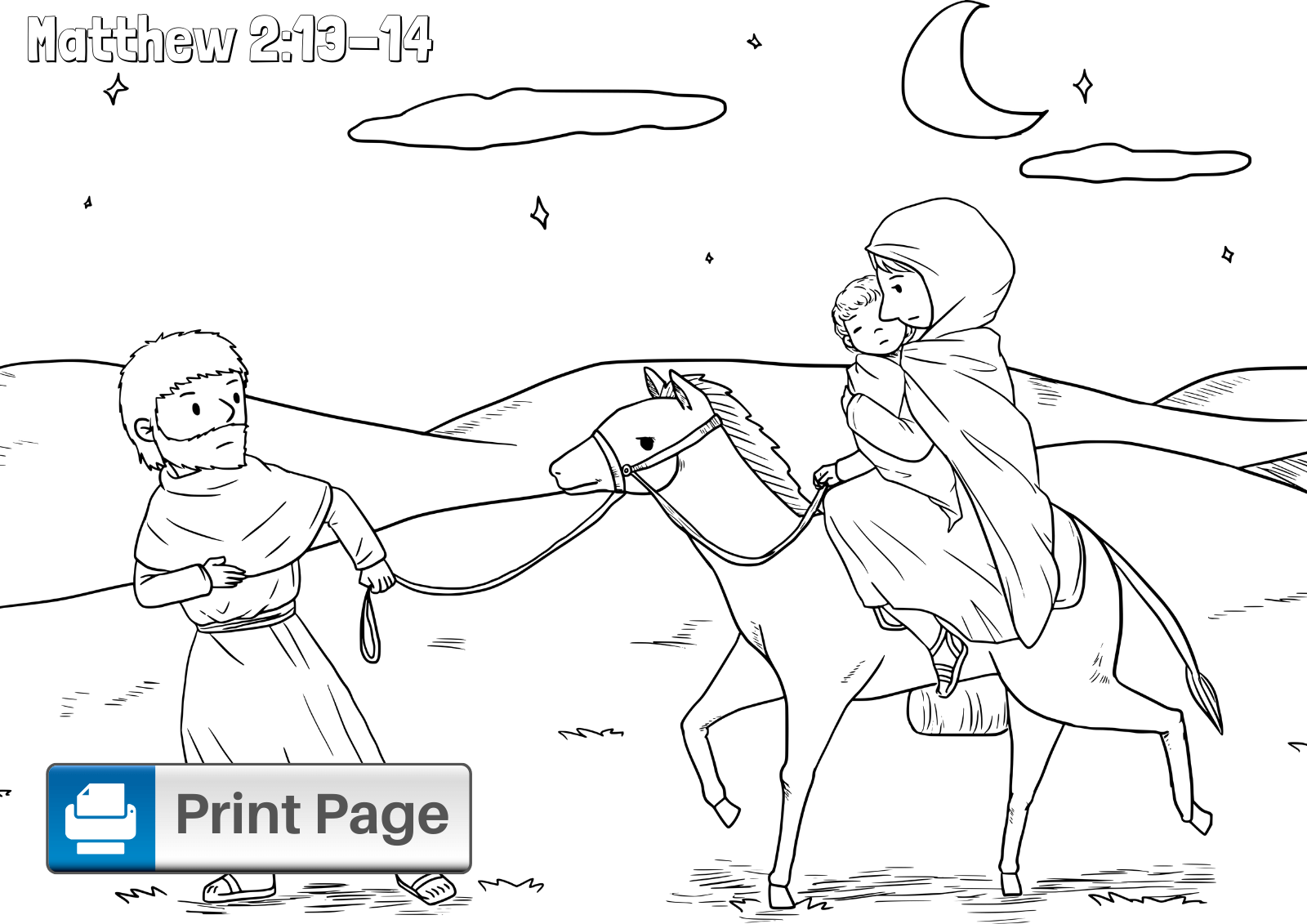 Mary and Joseph Flee to Egypt Coloring Page