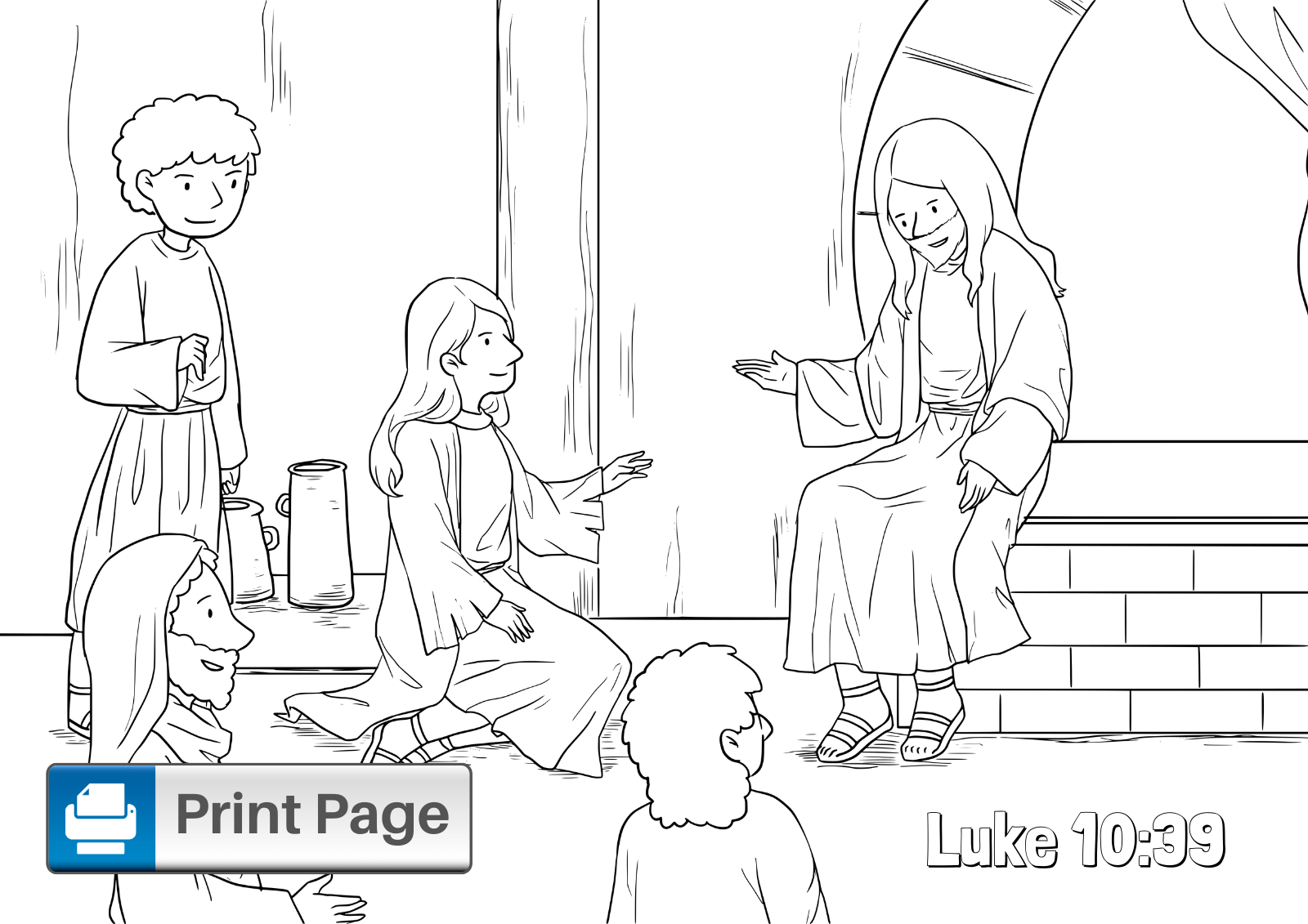 Mary and Martha Coloring Sheet