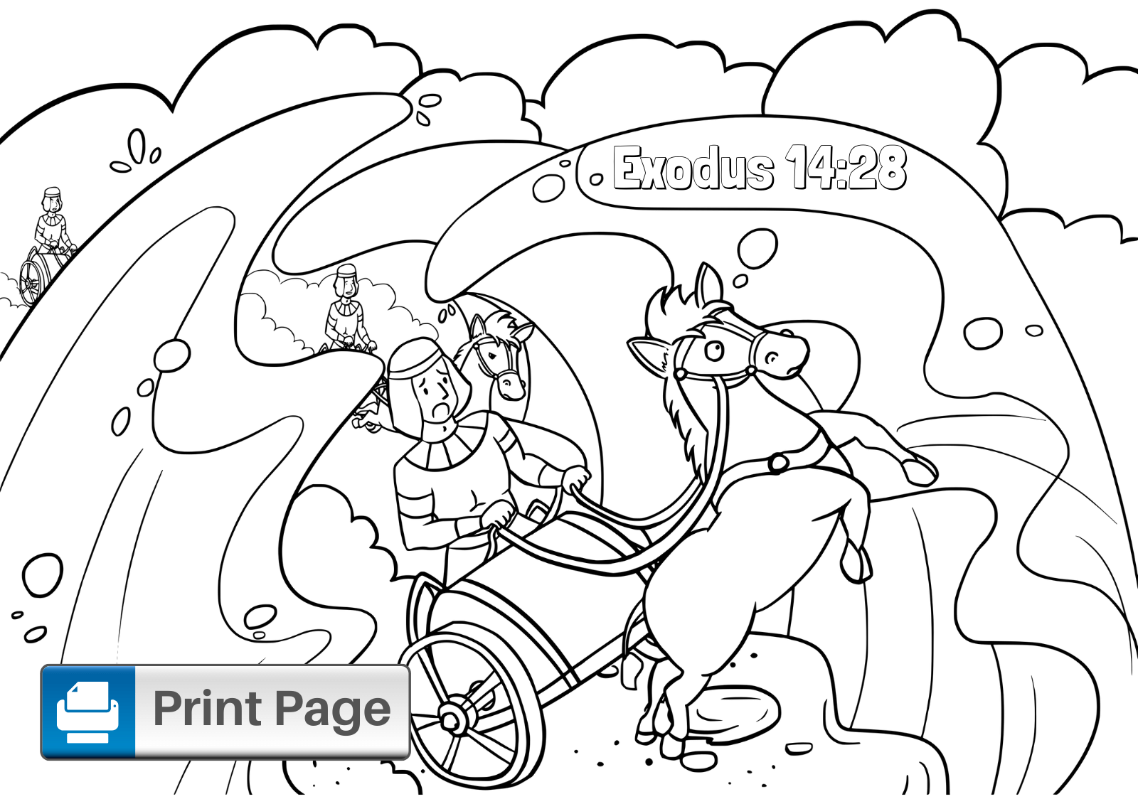 Moses Parting the Red Sea Coloring Sheet