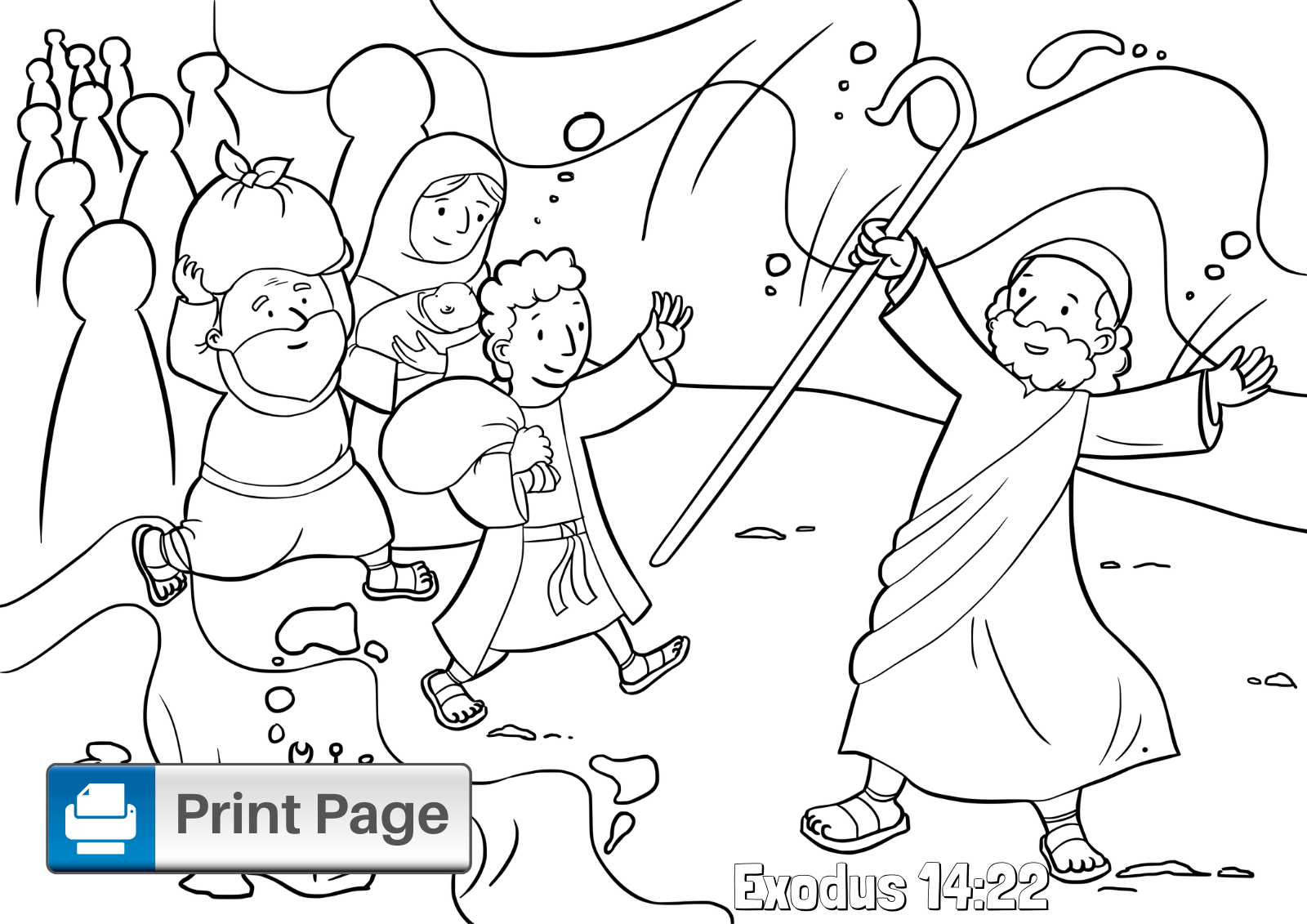 Moses Parts the Red Sea Coloring Page