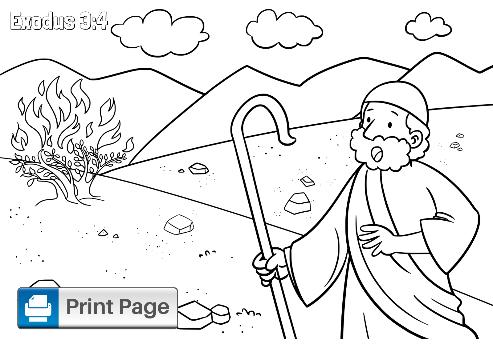 Moses and the Burning Bush Coloring Sheet