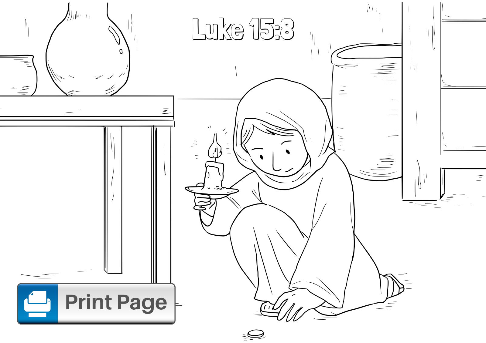 Parable of the Lost Coin Coloring Page