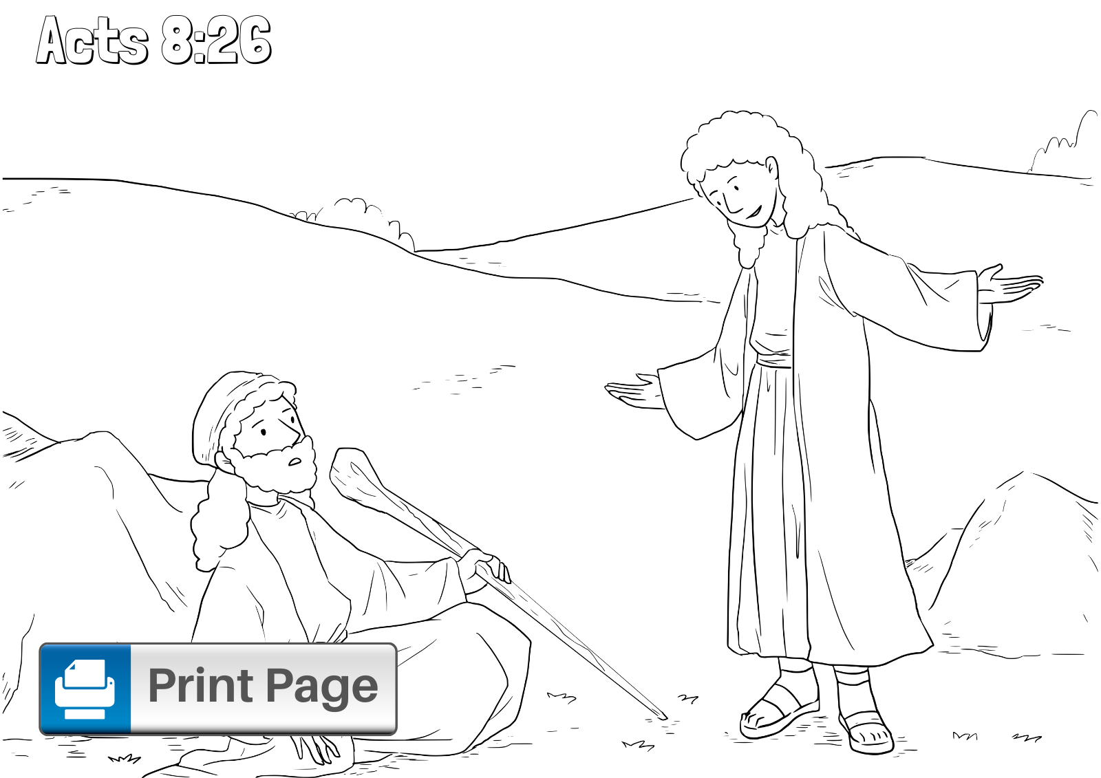 Philip and the Ethiopian Coloring Sheet