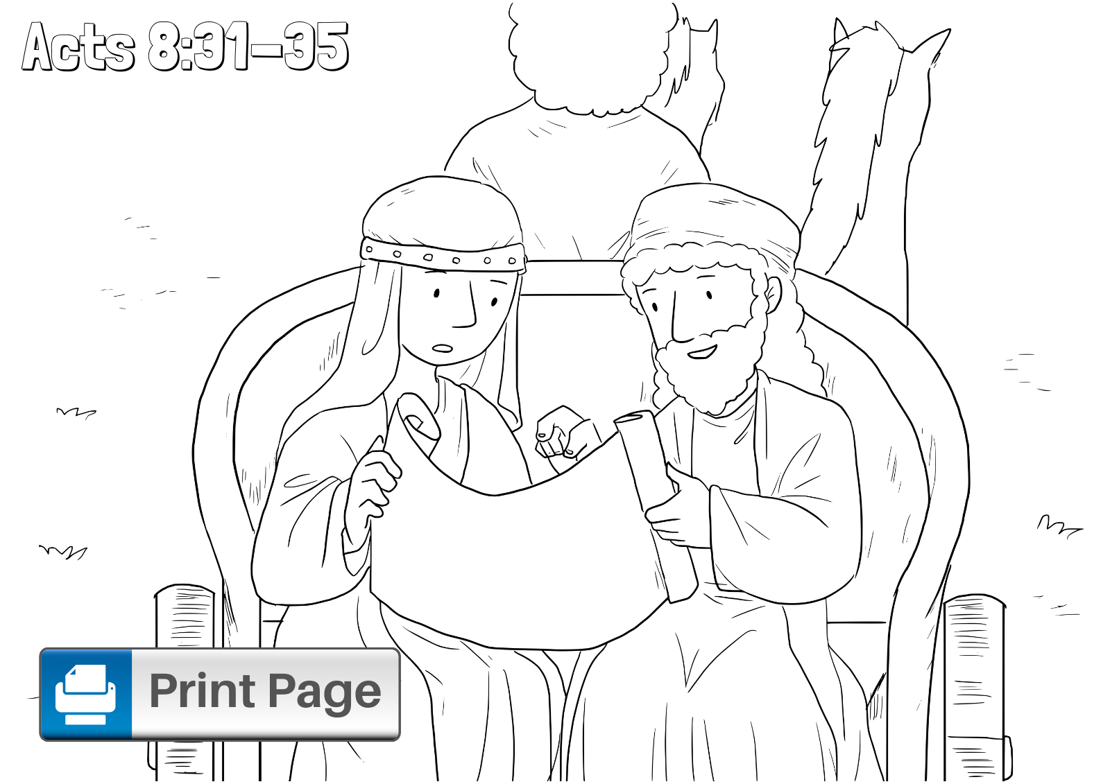 Philip and the Ethiopian Eunuch Coloring Page