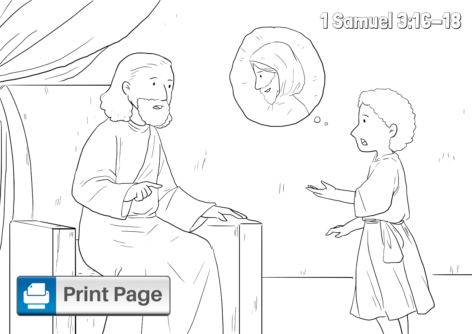 Samuel Listens to God Colouring Page