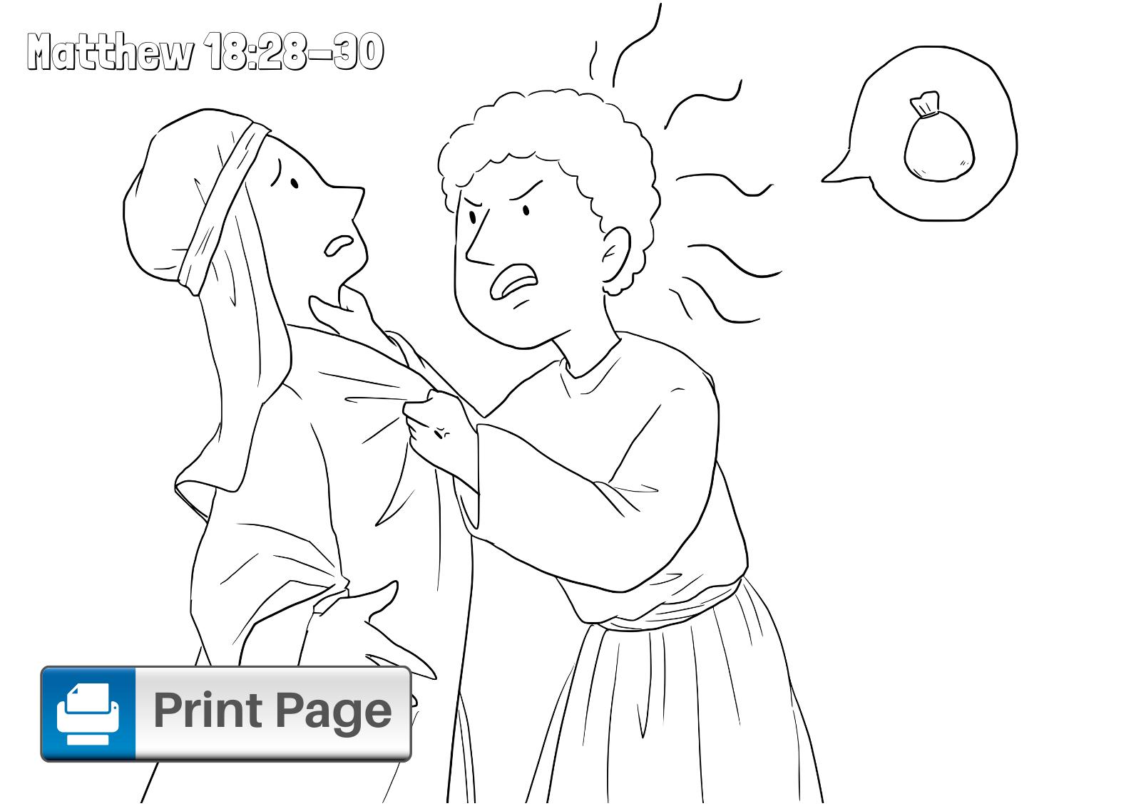 The Unforgiving Servant Parable Coloring Page