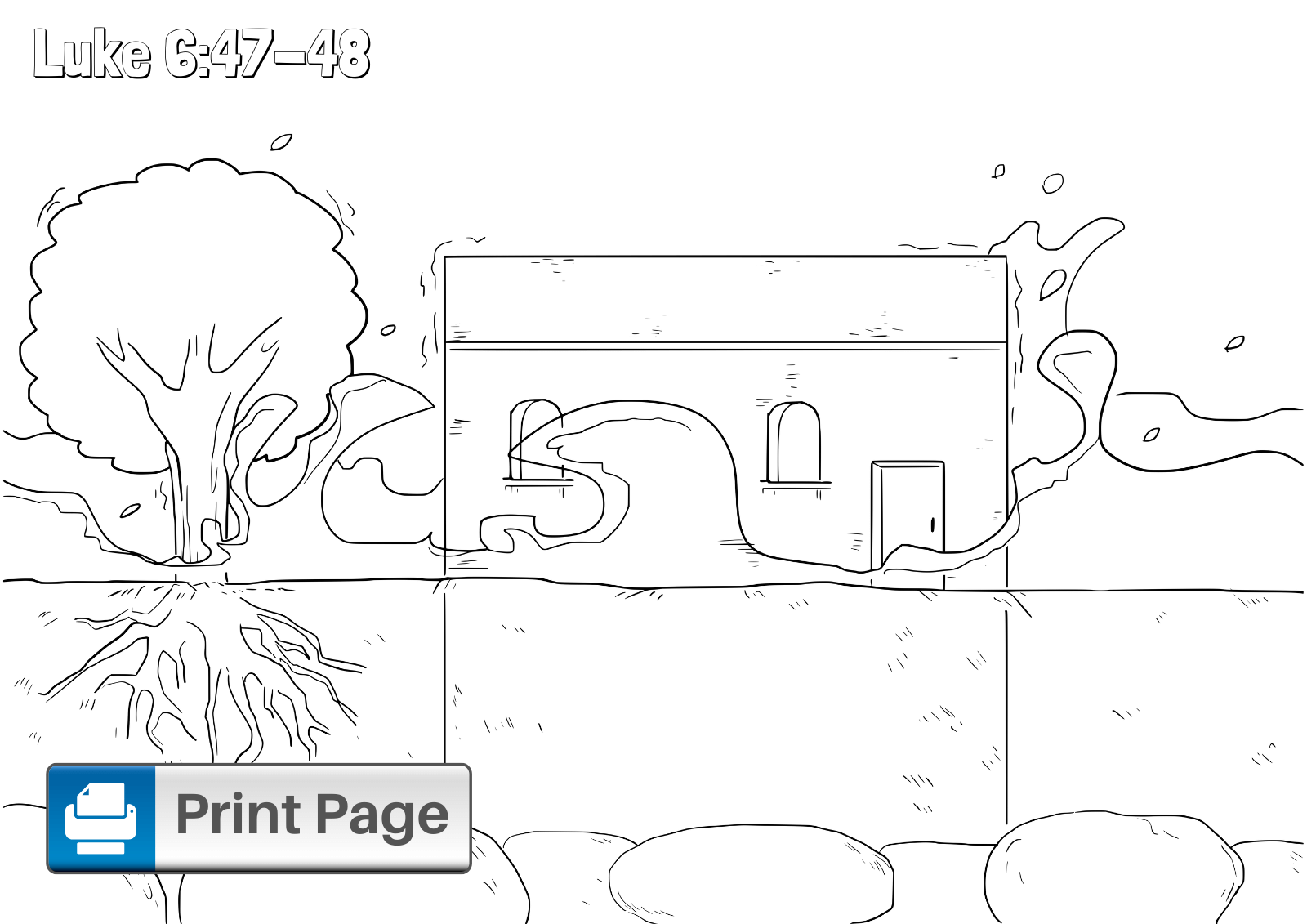 Wise Man Built His House on the Rock Coloring Page