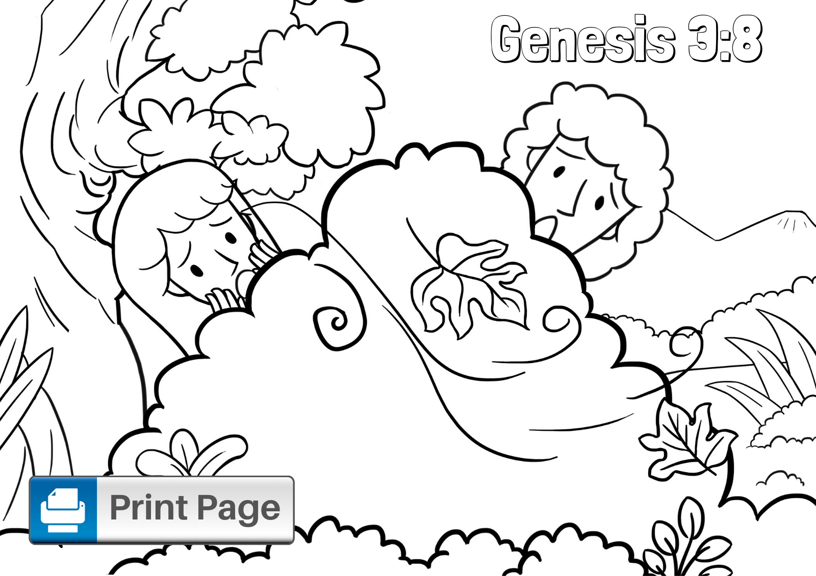 Adam and Eve Coloring Sheet