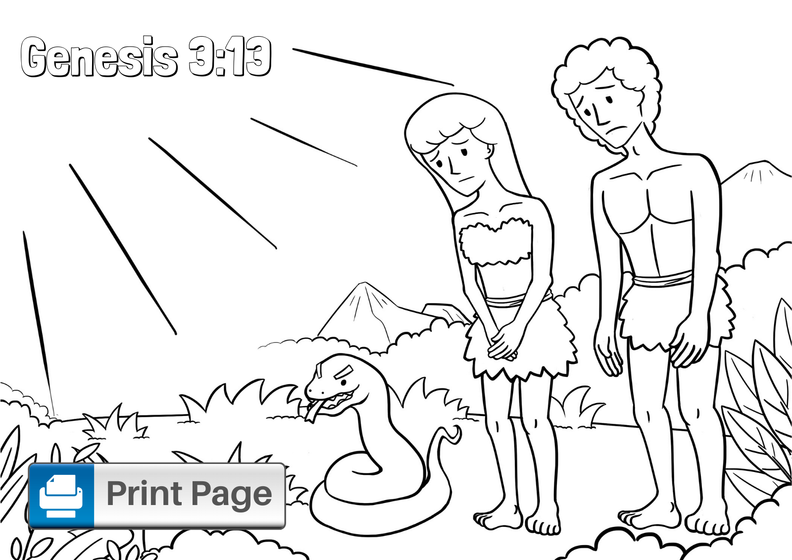 Adam and Eve Printable Coloring Page