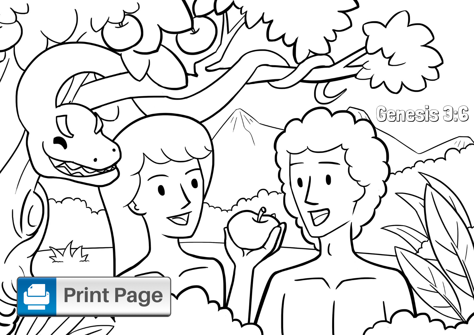 Garden of Eden Coloring Page