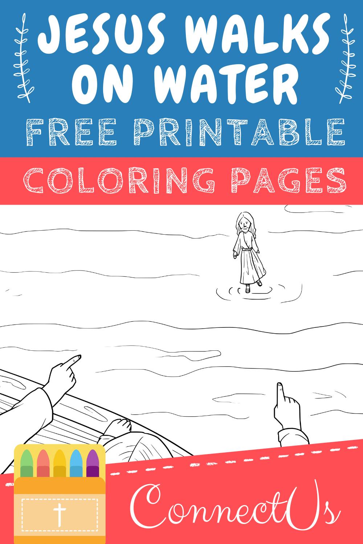 Jesus Walks on Water Coloring