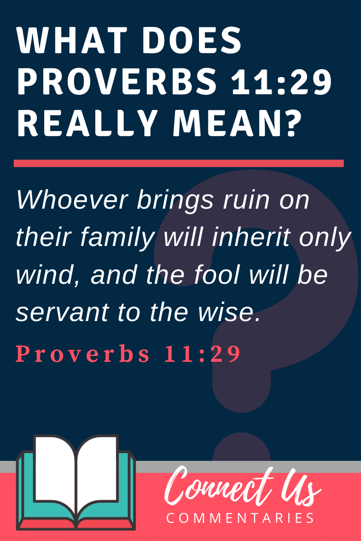 Proverbs 11:29 Meaning and Commentary